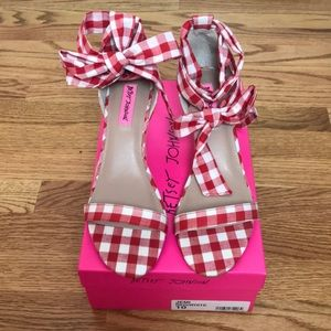 Betsey Johnson Red Gingham Wedge Sandals
